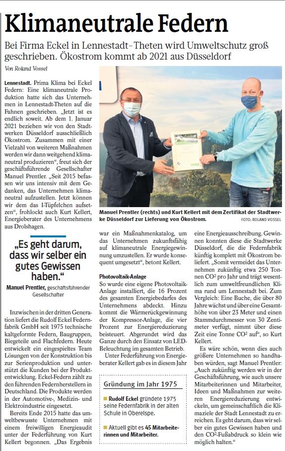Presseartikel Westfalenpost Olpe vom 14.11.2020